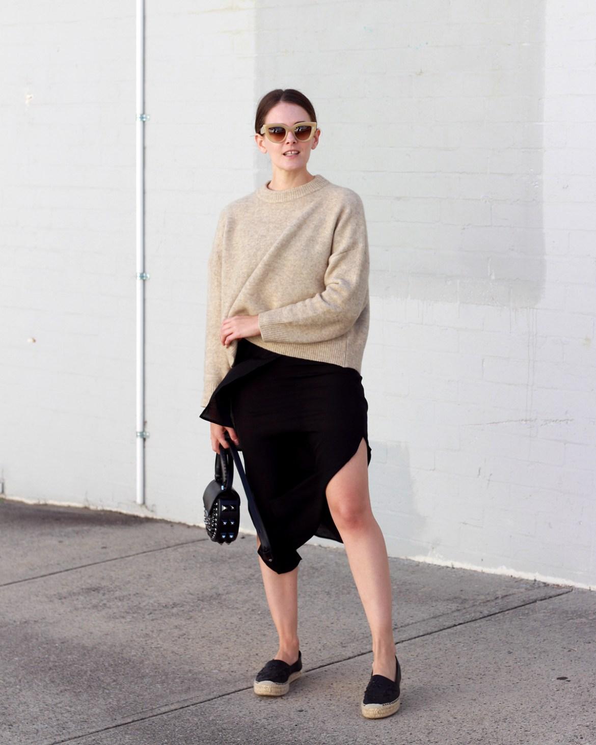 Jac + Jack softest knit worn with Salar Milano bag, espadrilles and black slip dress by Inspiring Wit fashion blogger Jenelle