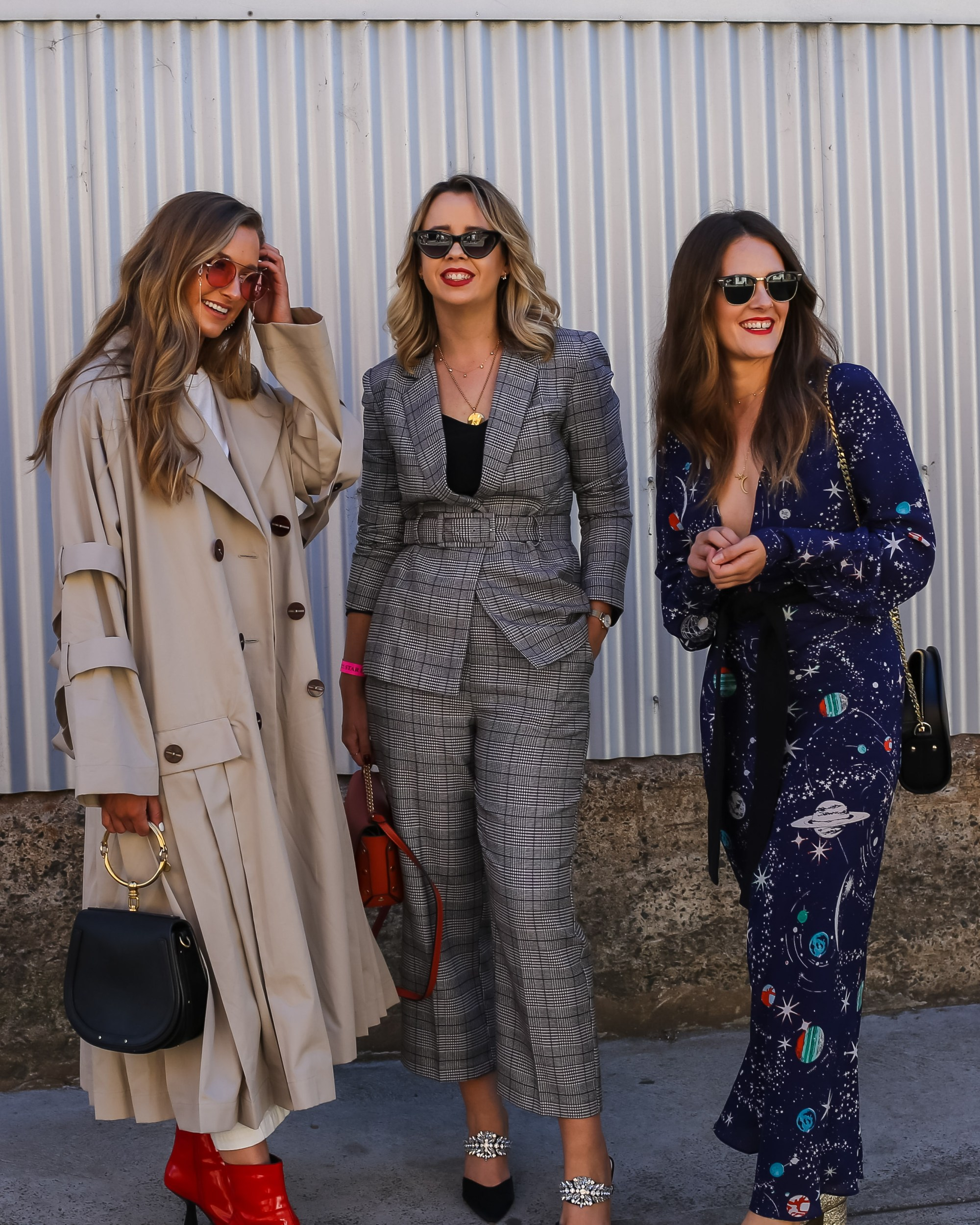 Fashion bloggers Kirsten Anderton, Rachel James and Jenelle Witty from Inspiring Wit Blog at MBFWA 2018 with Dyson Hair wearing Rixo London, A.P.C and Gucci