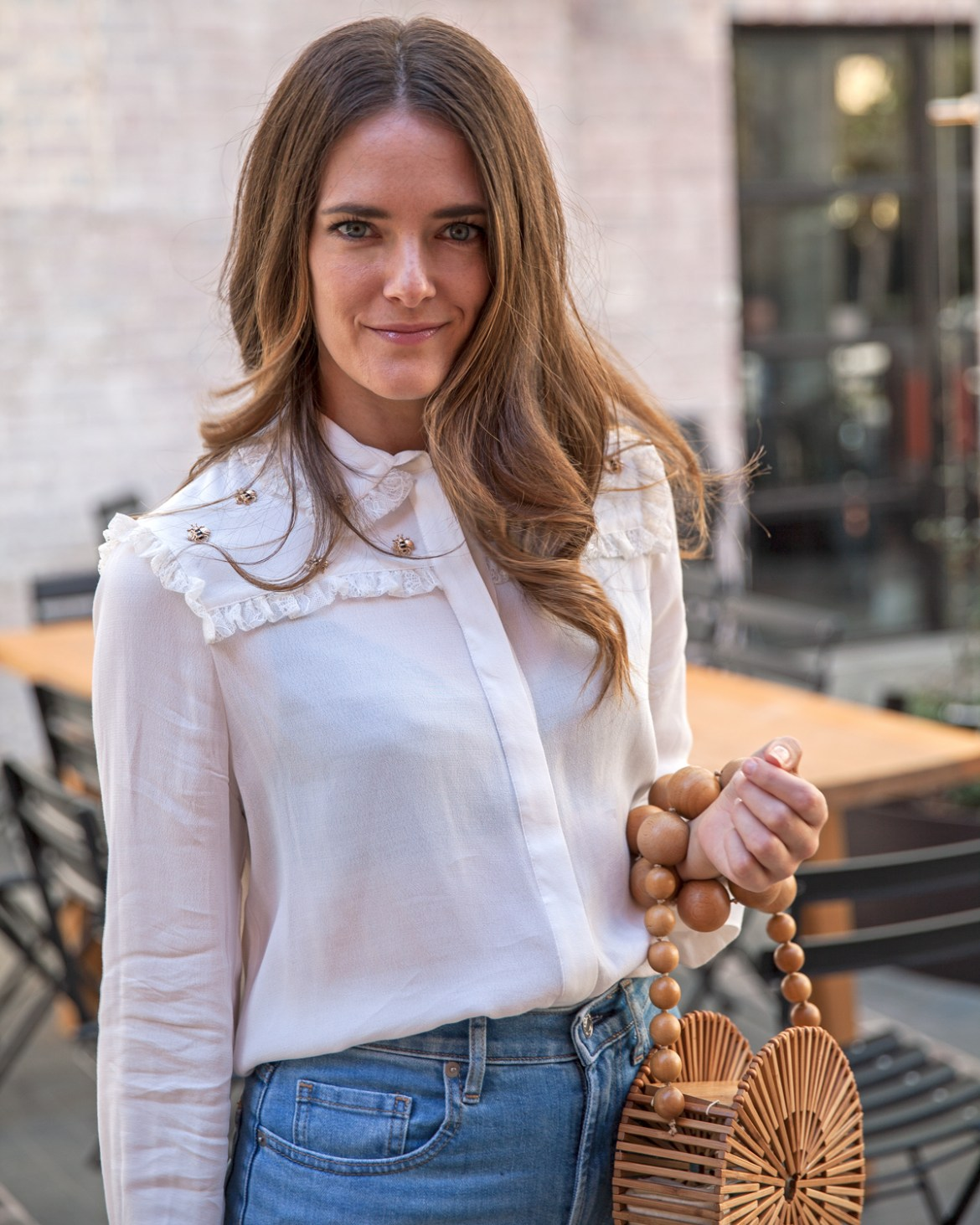 Maje bee blouse worn by Australian fashion blogger Jenelle Witty of Inspiring Wit with Cult Gaia circle bag
