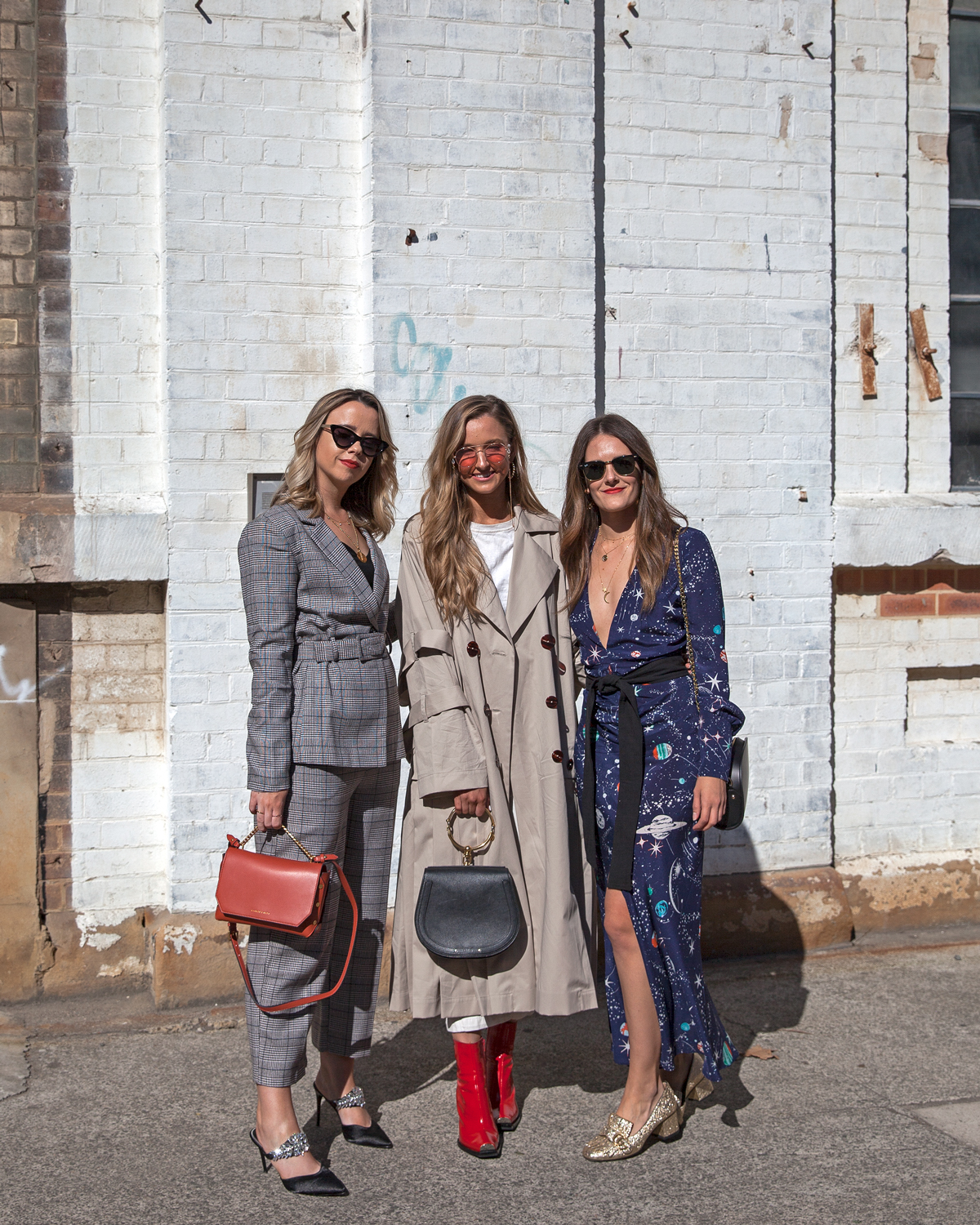 Rachel James Kirsten Anderton and Jenelle Witty from Inspiring Wit at MBFWA 2018 with Dyson Hair street style