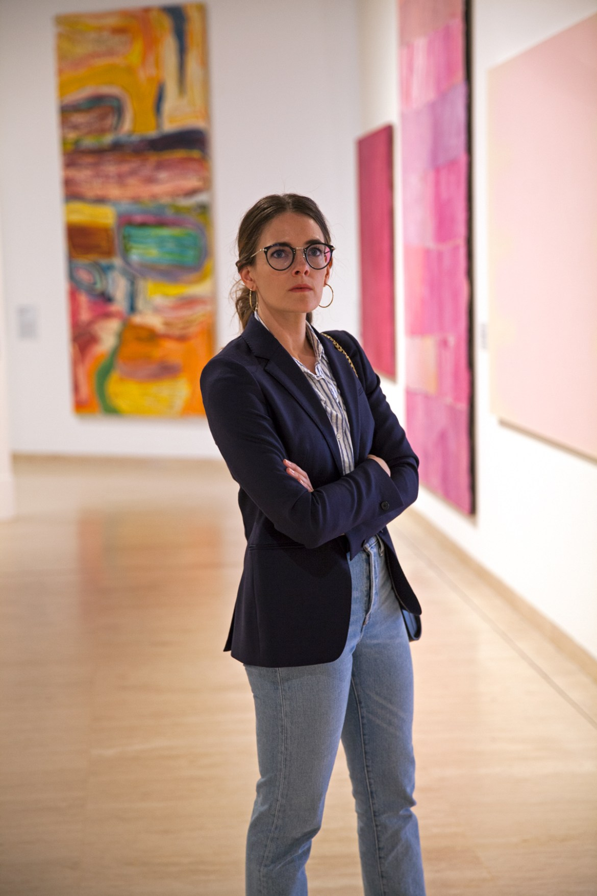 Essilor Transitions® Colours Lenses worn with navy blazer by Inspiring Wit blogger Jenelle at the Art Gallery of WA