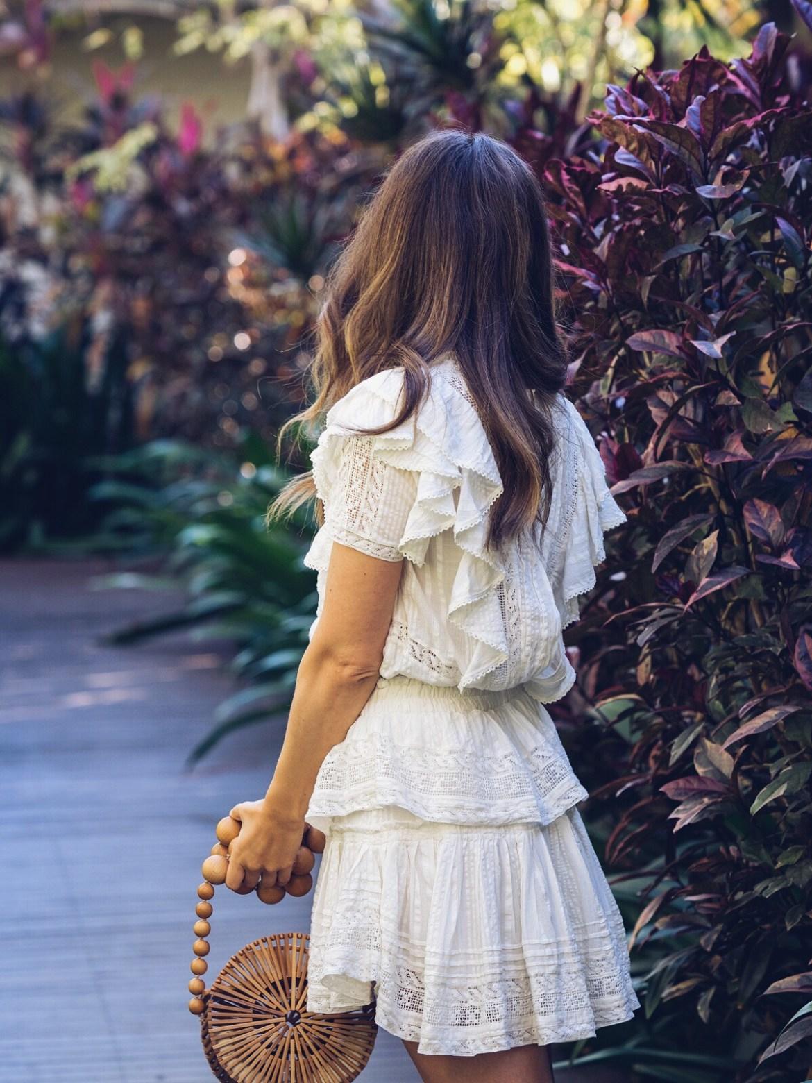 LOVESHACKFANCY little white summer dresses edit with Cult Gaia round bag Inspiring Wit blogger Jenelle