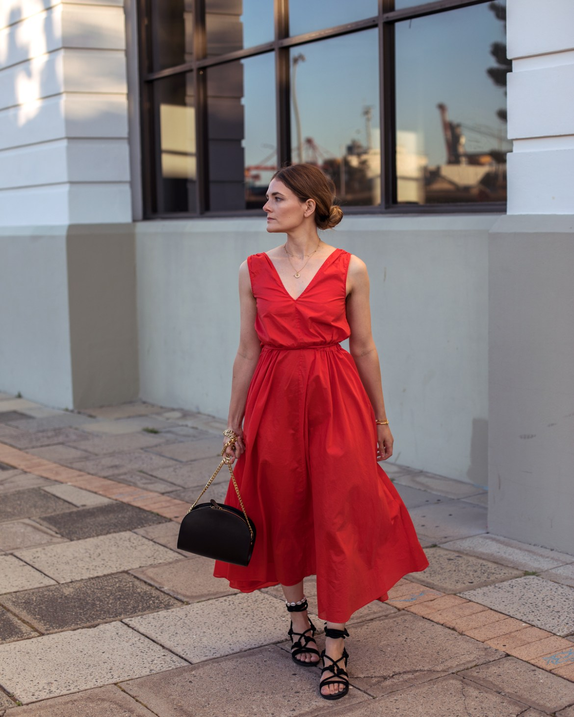 jac + jack red xs18 dress worn by Inspiring Wit fashion blogger Jenelle