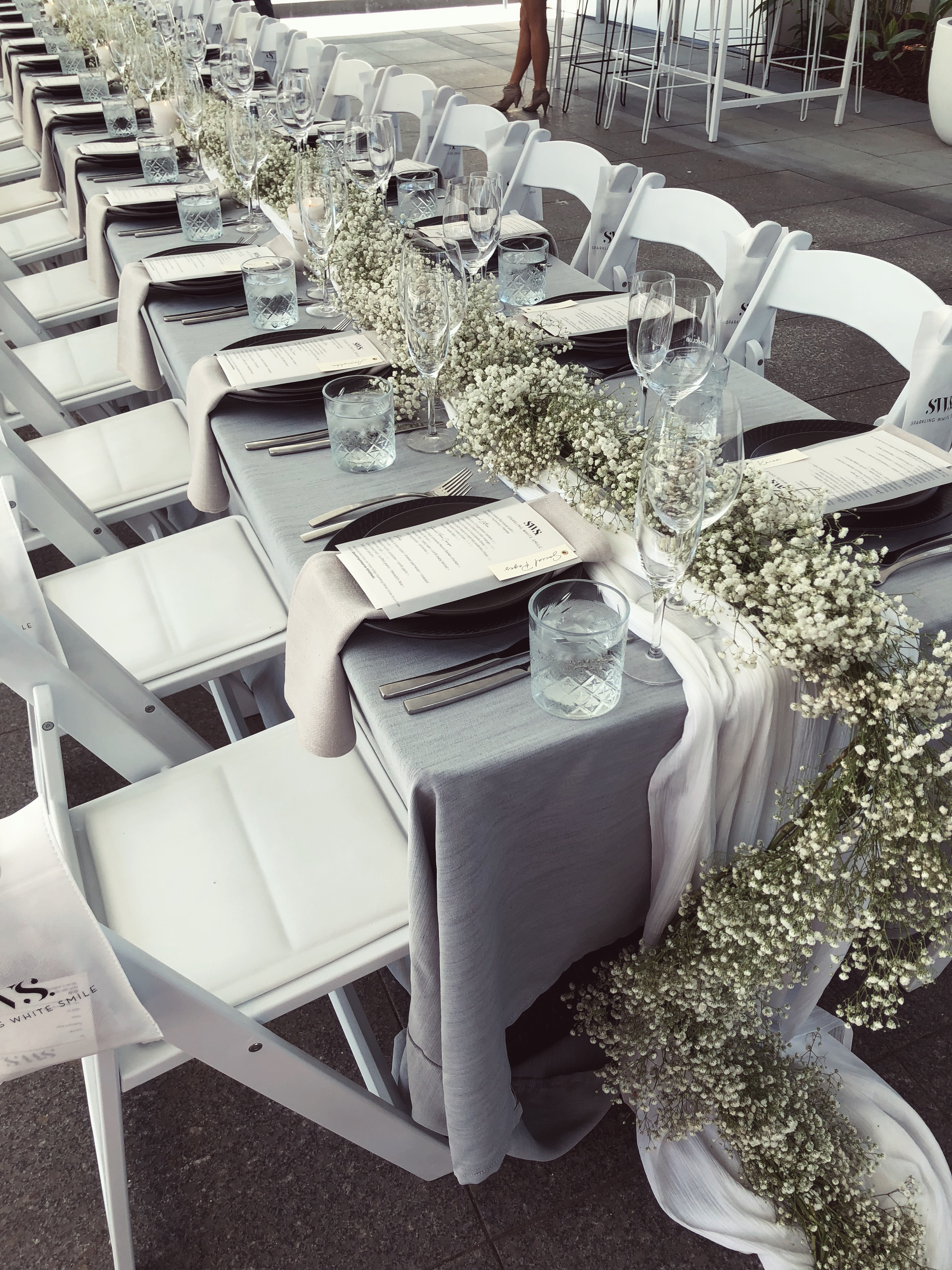 amazing long table setting with baby's breath for lunch at the Beach Club at the Cottesloe Hotel Perth for Sparkling White Smile