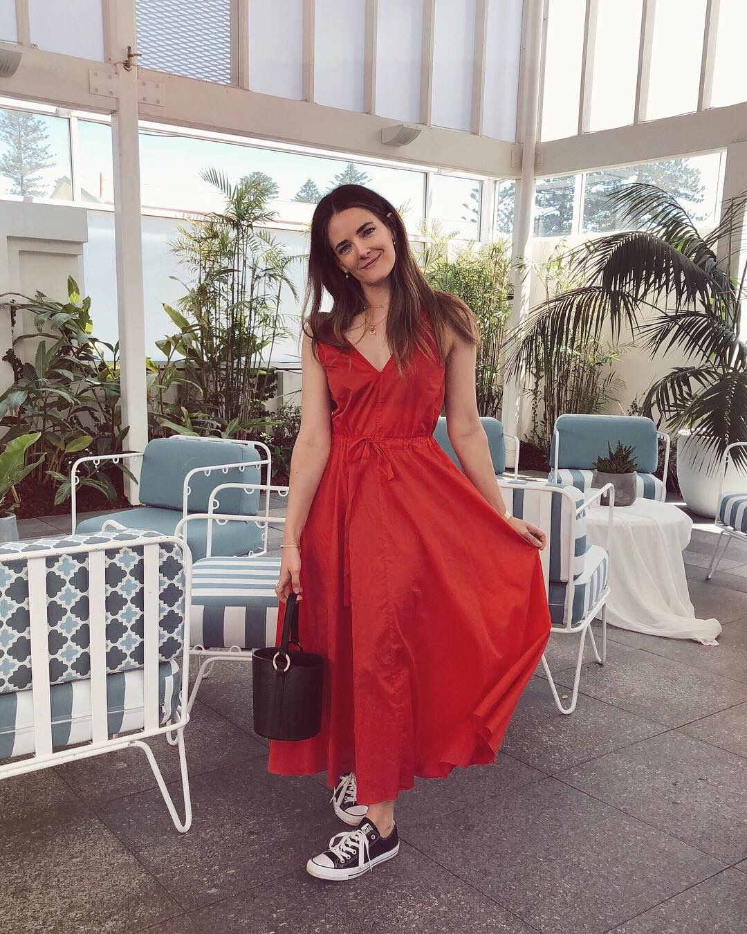 Jenelle Witty from fashion blog Inspiring Wit wearing red jac + jack dress for lunch at the Beach Club at the Cottesloe Hotel Perth for Sparkling White Smile