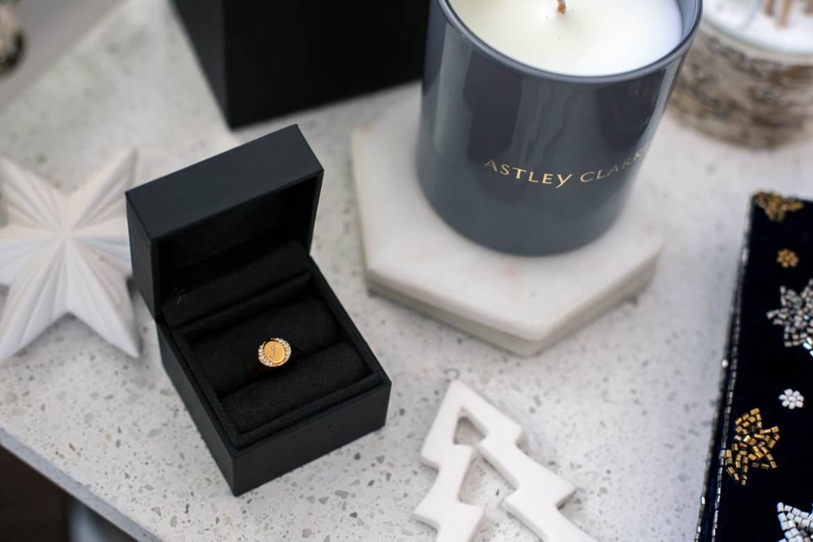 Astley Clarke gold signet ring engraved with an initial for a last minute Christmas gift idea