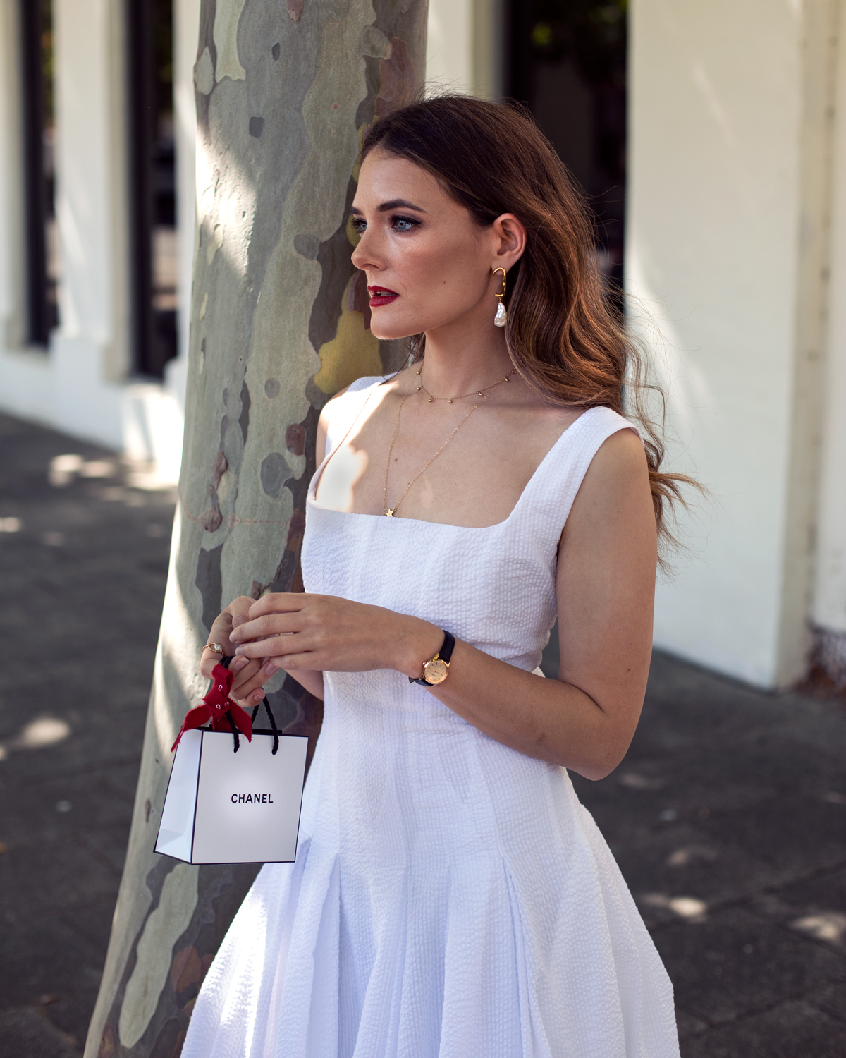 2018 Christmas gift guide Inspiring Wit blog featuring women's gift ideas Interval white dress and Chanel beauty look with VOA fine jewellery x Jo Hombsh earrings