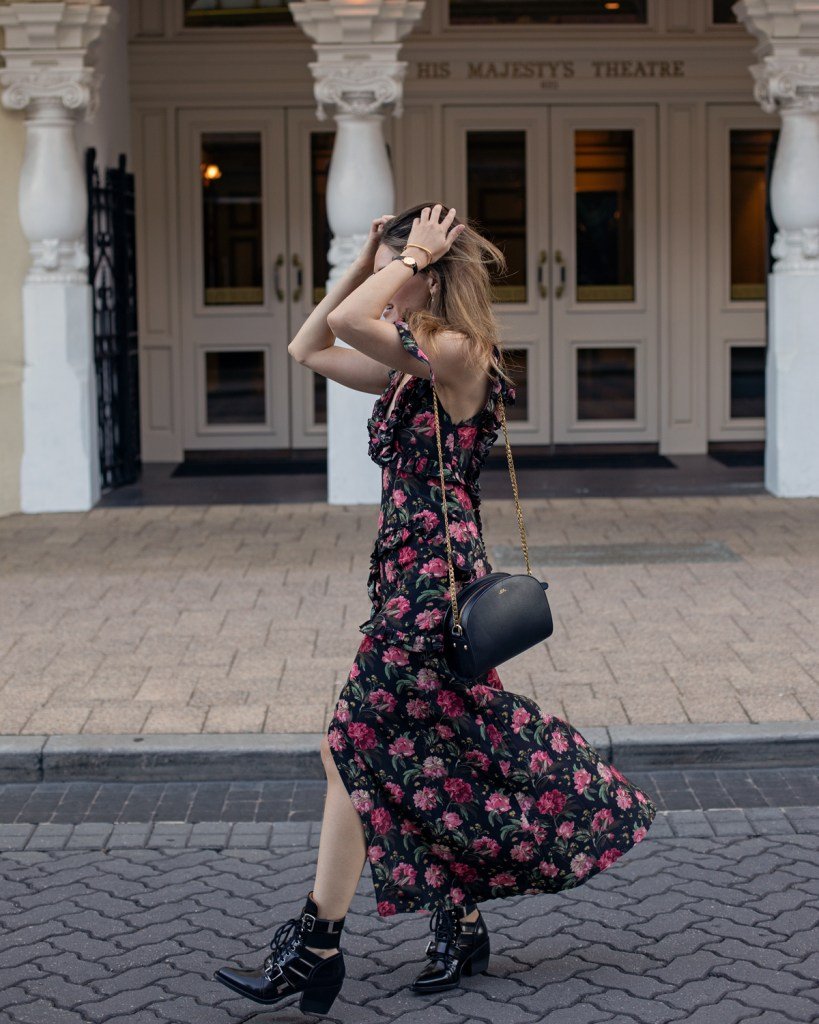 R-13 floral maxi dress and Chloe Rylee cut out boots worn by fashion blogger Jenelle Witty of inspiring wit in the blog post 'What I learned in 2018'