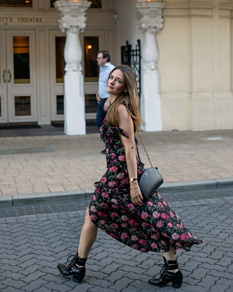 R-13 floral maxi dress and Chloe Rylee cut out boots worn by fashion blogger Jenelle Witty of inspiring wit