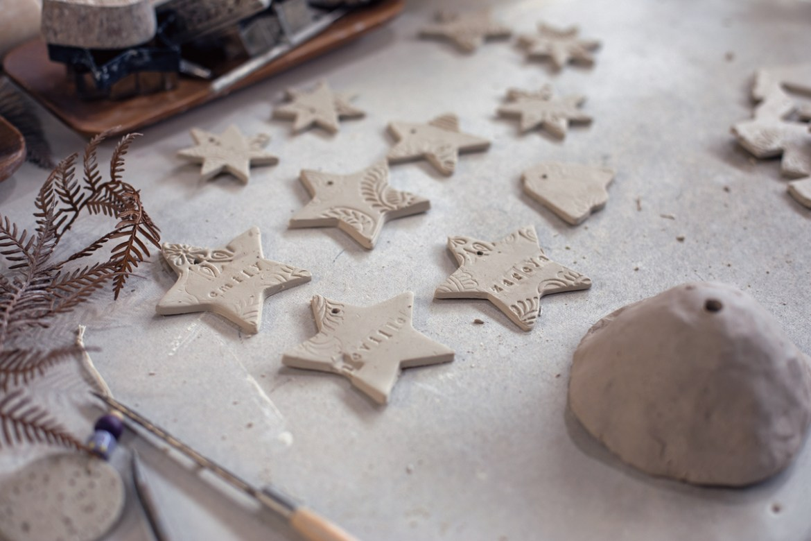 Christmas decoration making workshop at the Winterwares ceramics studio in Perth with Potterybarn minimal decoration ideas porcelain tree ornaments