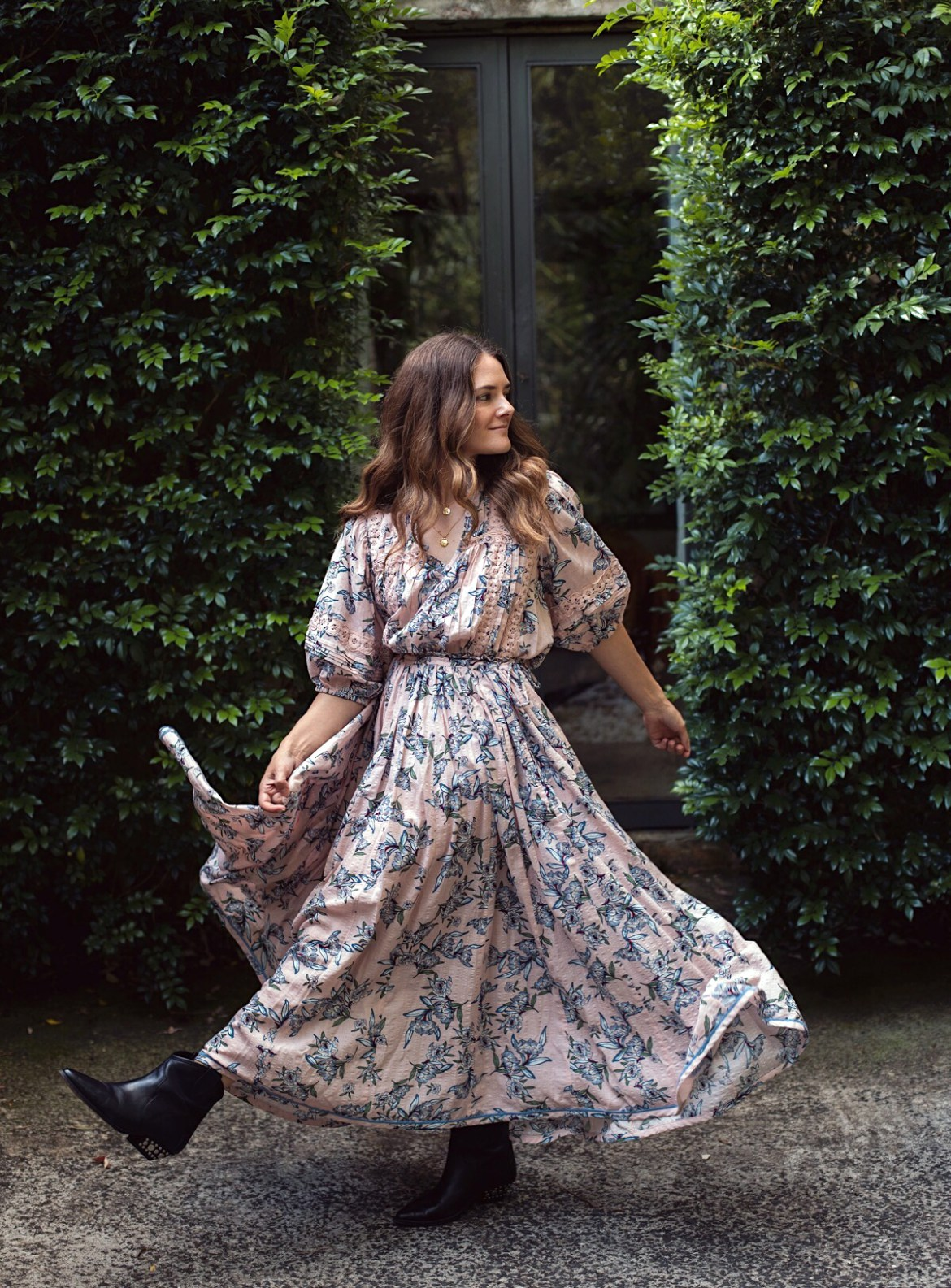 Bohemian Traders daydreamer print top and skirt and Isabel Marant boots worn by Australian fashion blogger Jenelle Witty from Inspiring Wit