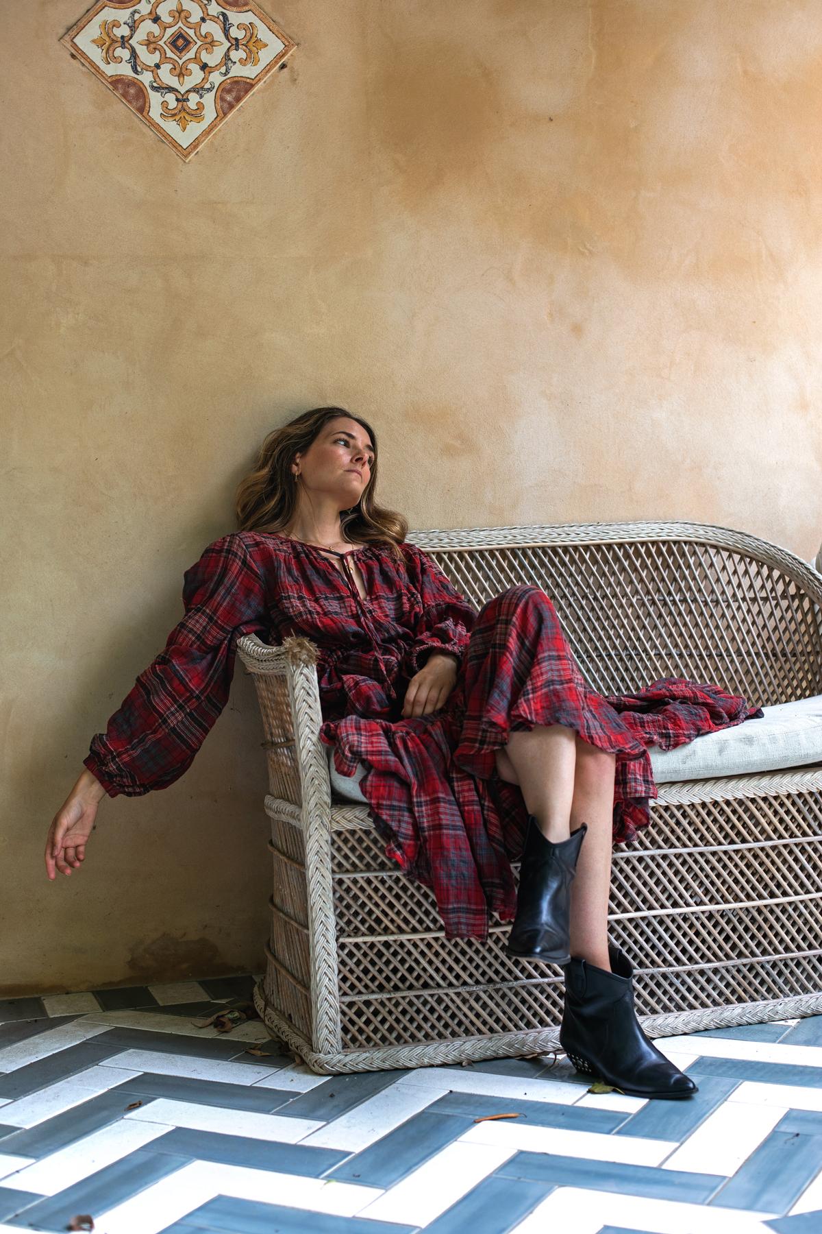Bohemian Traders FIESTA MIDI DRESS IN BARBADOS CHERRY PLAID worn by Inspiring Wit fashion blogger Jenelle