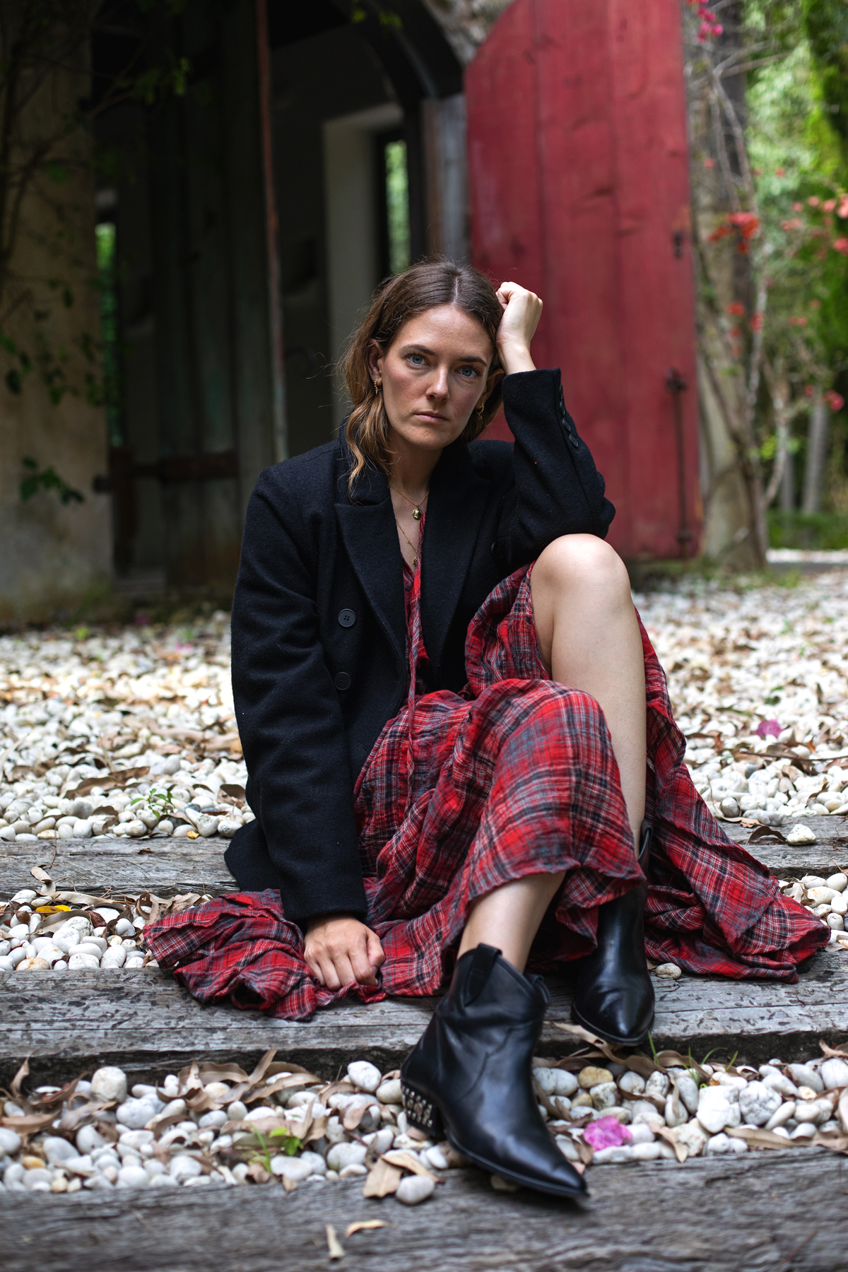 Bohemian Traders FIESTA MIDI DRESS IN BARBADOS CHERRY PLAID worn with black blazer by Inspiring Wit fashion blogger Jenelle with Isabel Marant black boots
