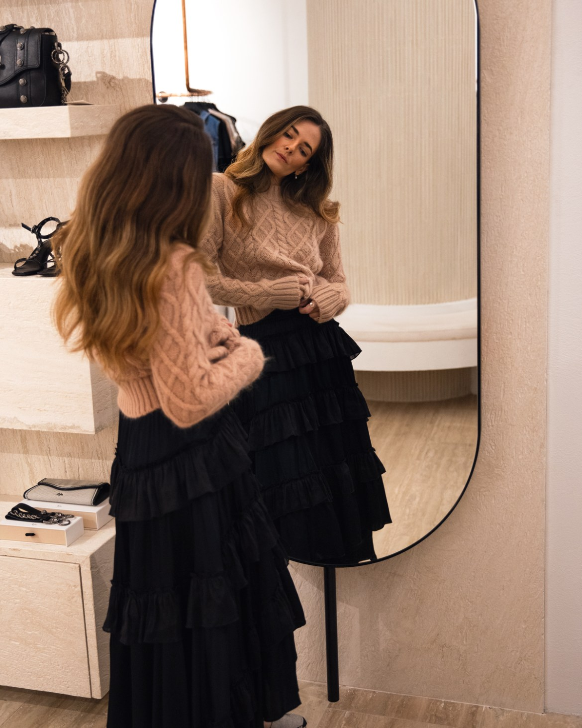 Aje blush cable knit jumper and ruffle skirt with espadrilles from Autumn 19 collection worn by Inspiring Wit fashion blogger Jenelle