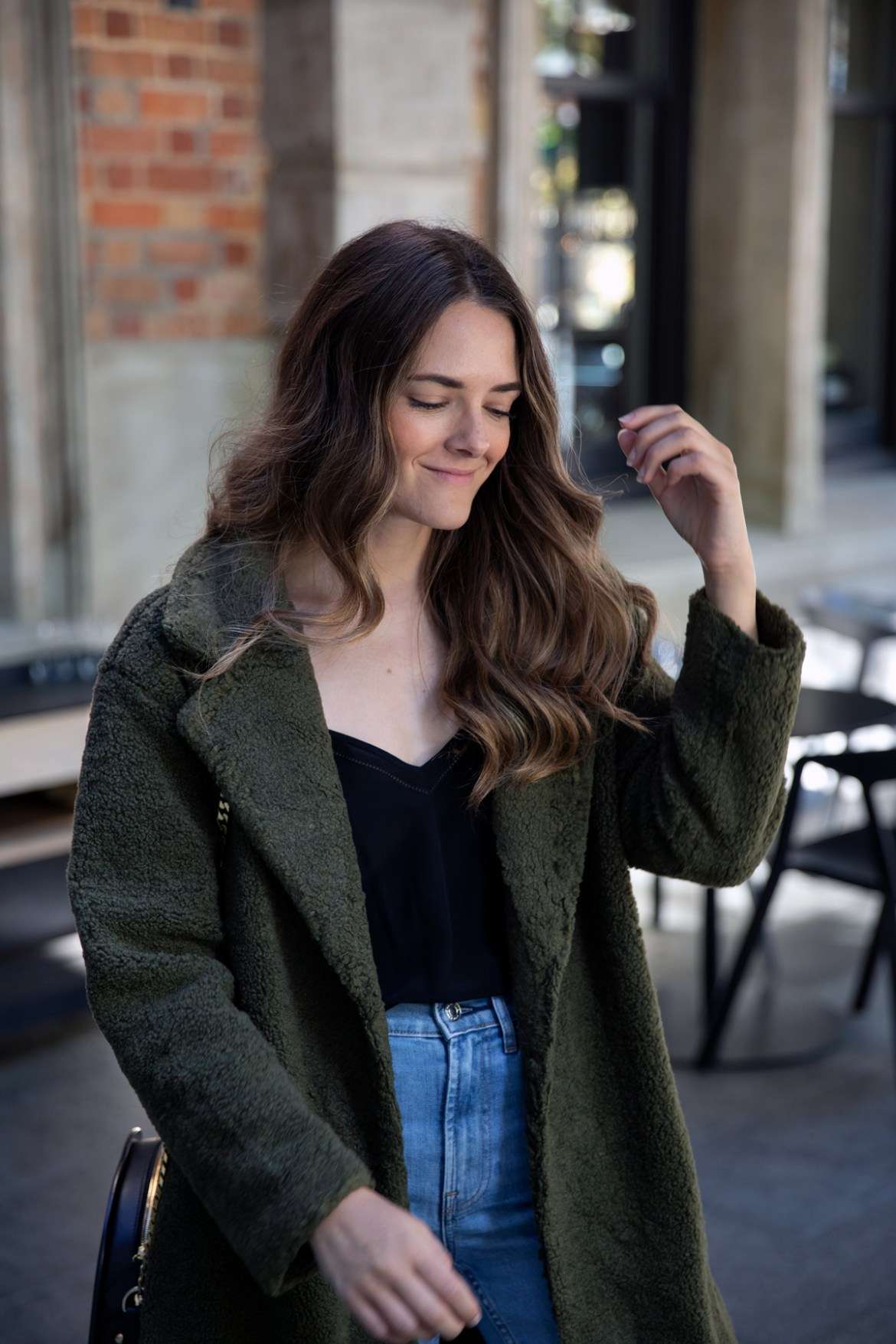 army green teddy coat winter outfit idea from Inspiring Wit fashion blogger Jenelle