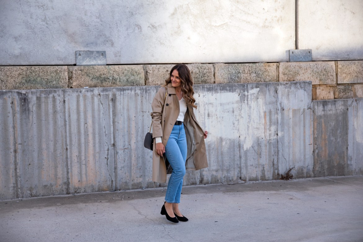 Everlane the drape trench coat in khaki worn with high waisted jeans and the Everlane the day heel in black suede classic outfit idea for spring or fall worn by Inspiring Wit fashion blogger Jenelle Witty street style photo