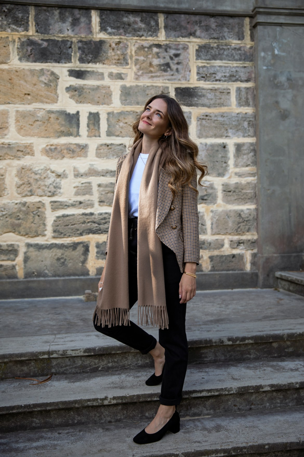beige Acne Studios scarf outfit idea with check blazer for autumn or fall