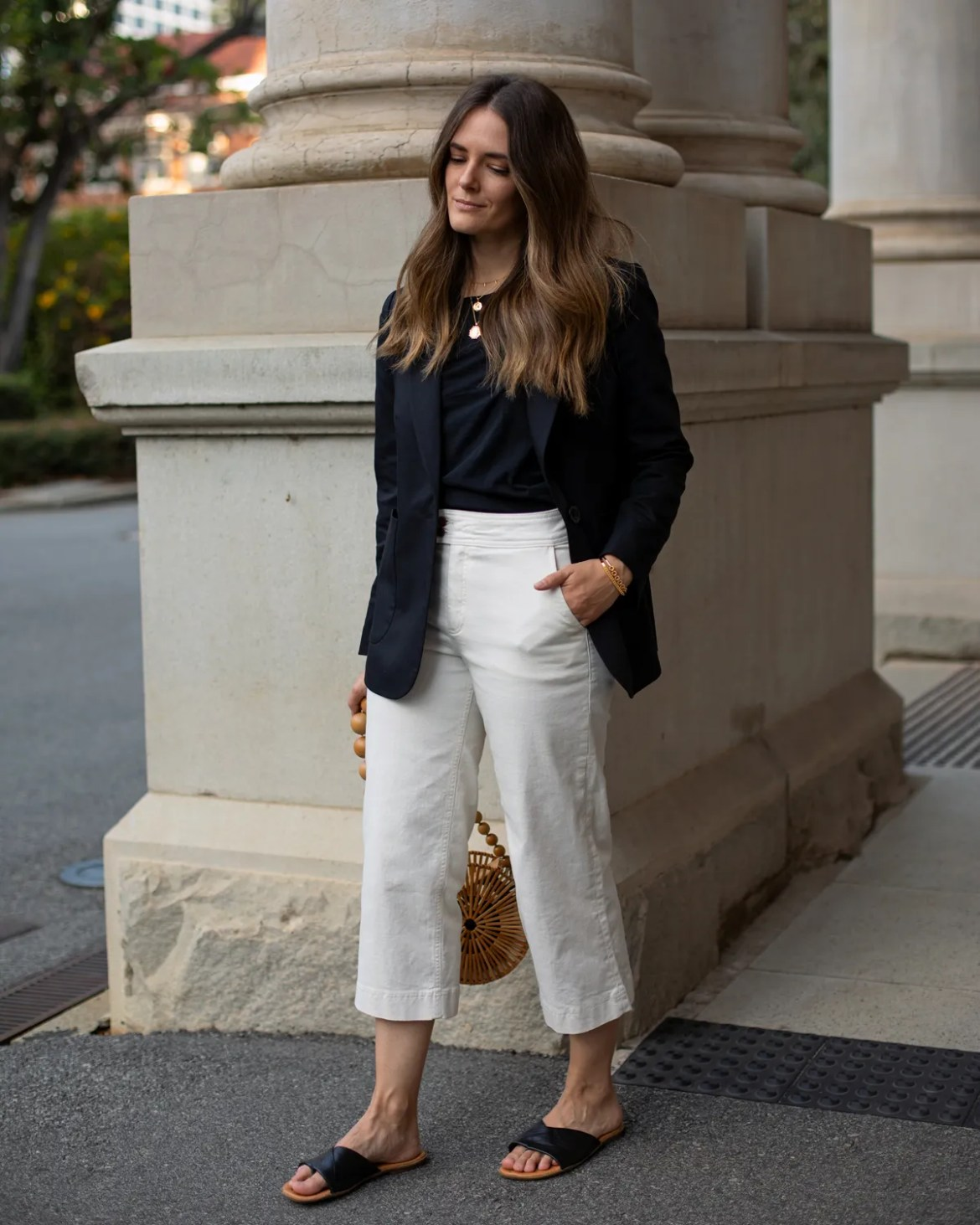 Black blazer, cream pants outfit with black slides outfit idea for everyday