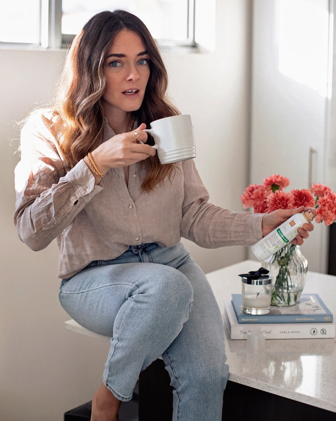 Inspiring Wit blogger Jenelle with morning coffee at home