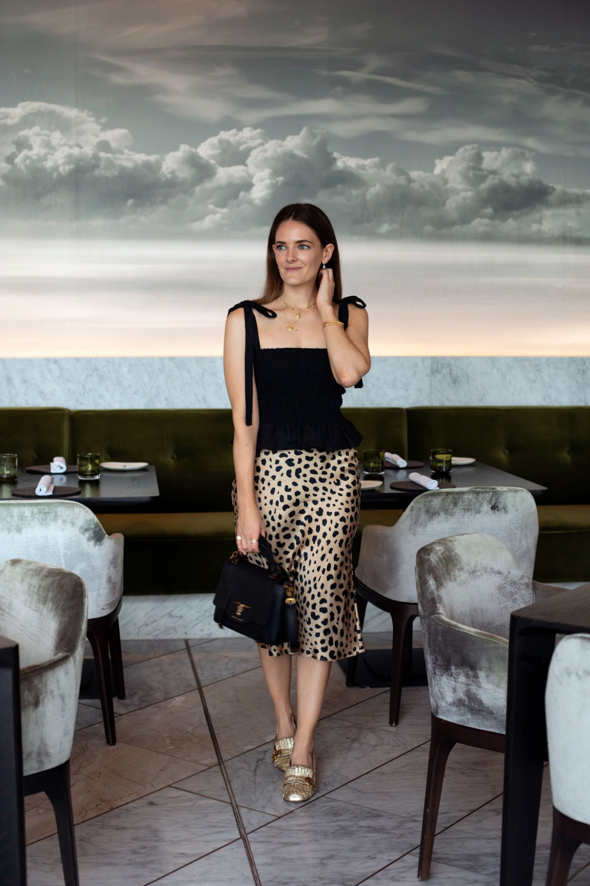 Reformation linen top and Realisation Par leopard print skirt worn by Perth blogger Jenelle Witty