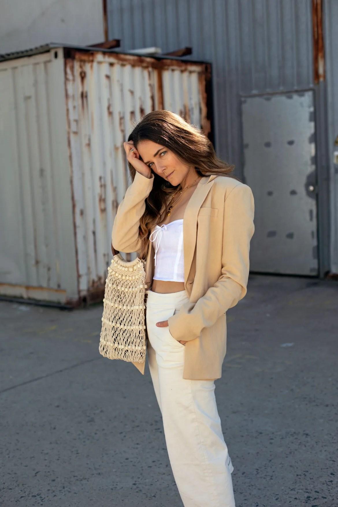 beige linen blazer cream jeans outfit