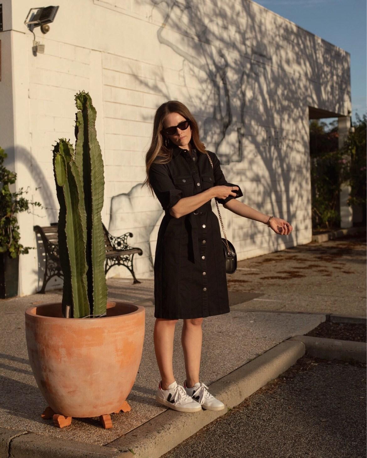 Black denim dress casual outfit idea