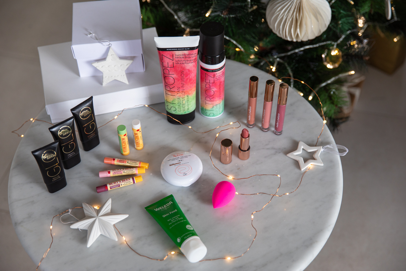 a table of stocking stuffer beauty ideas for the makeup and skincare lovers