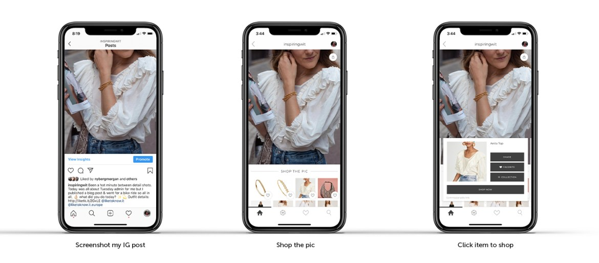 info graphics on how to shop in the liketoknow.it app