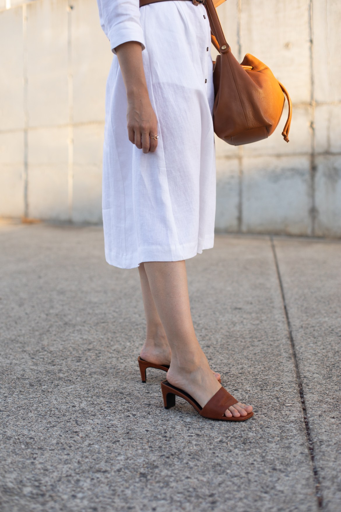 tan mules and white dress outfit idea