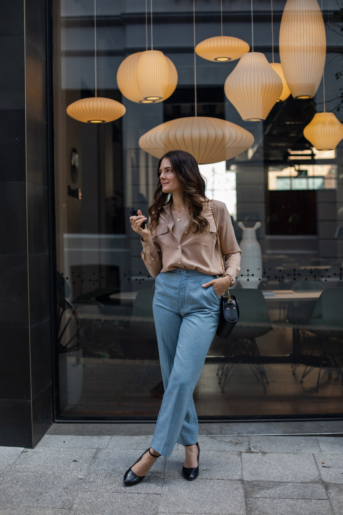 mid-year sale at Shopbop Jenelle from Inspiring Wit fashion blog wearing Equipment silk shirt in beige