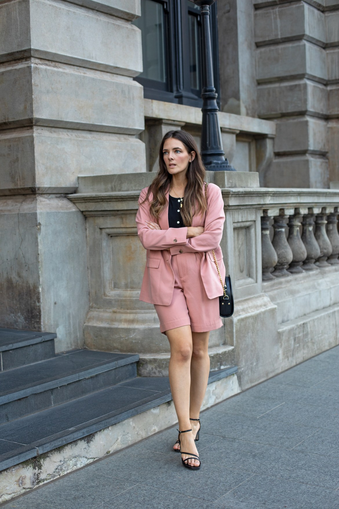 suits and strappy heels for a chic summer outfit