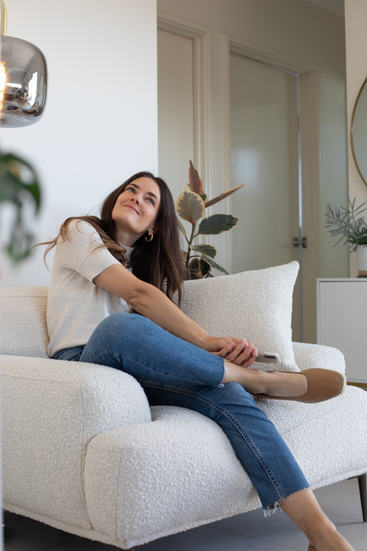 The boucle armchair at home with fashion blogger Jenelle Witty from Inspiring Wit