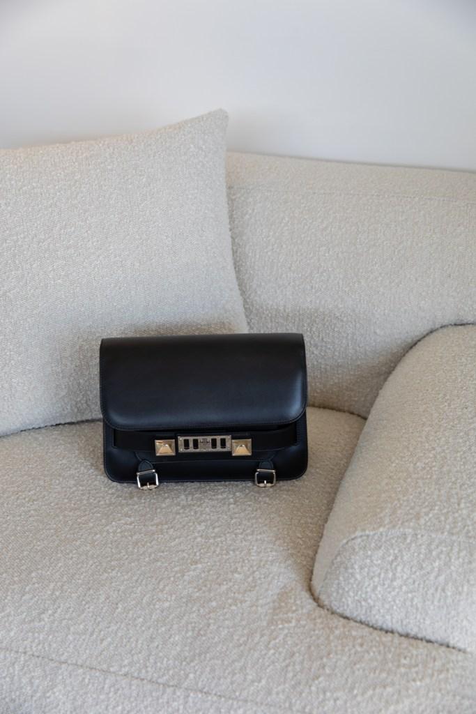 Boucle chair with Proenza Schouler PS11 handbag