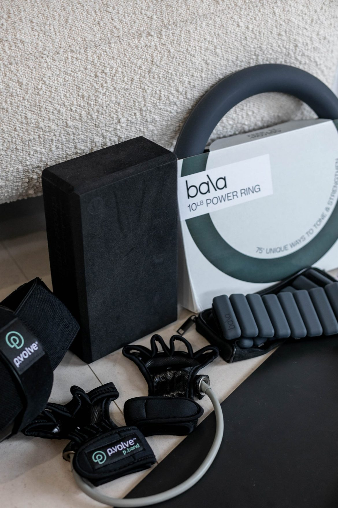 My at home gym equipment in charcoal black