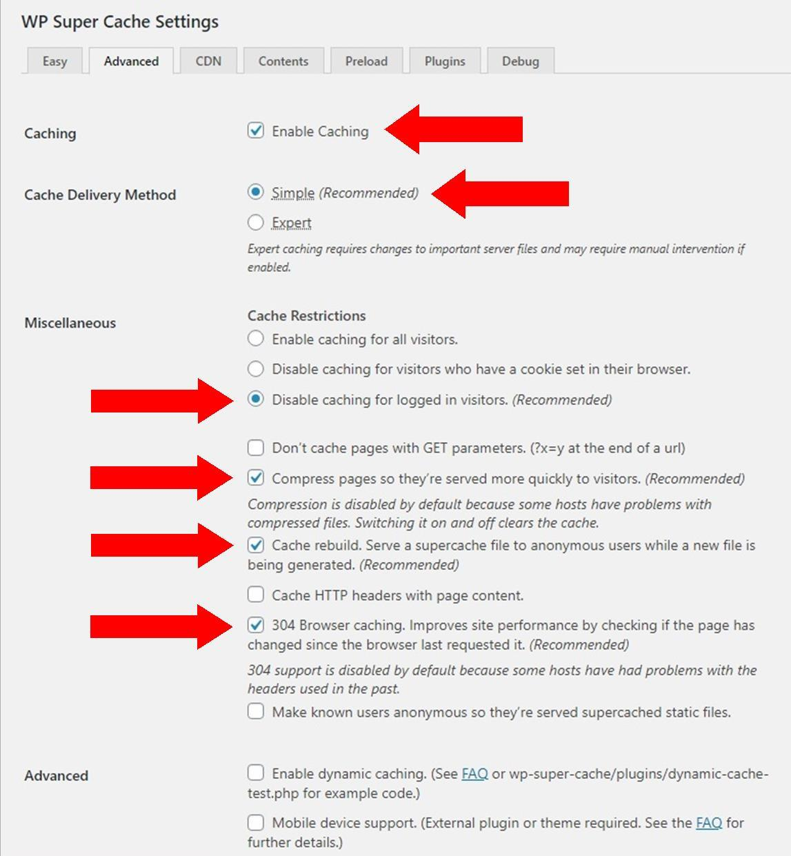 WP Super Cache: Advance Tab Settings & Configuration for Beginner
