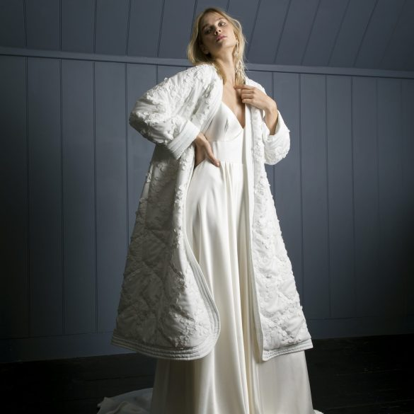 Bridal coat and full length dress by Halfpenny London