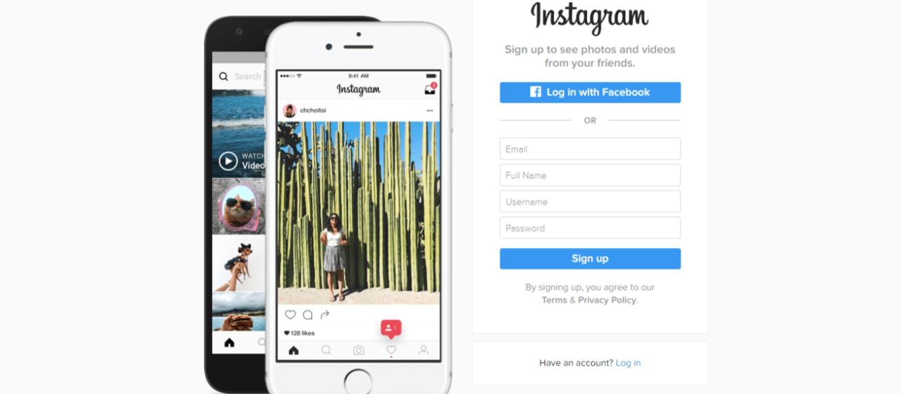 sign up to instagram online