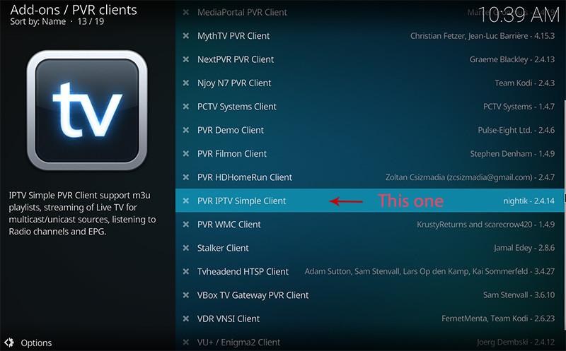 IPTV op Kodi - PVR-add-on in lijst