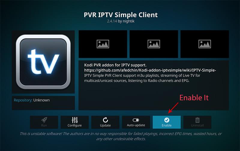 Installeer IPTV op Kodi - stap 10