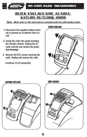 2008 Buick Enclave Installation Parts, harness, wires