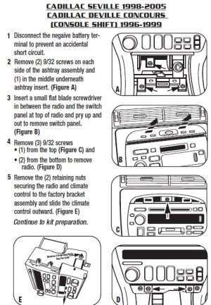 1999CADILLACSEVILLEinstallation instructions