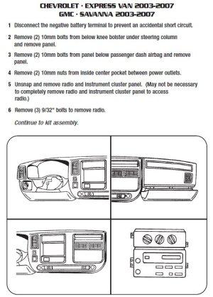 2004CHEVROLETEXPRESS VANinstallation instructions