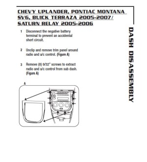 2006CHEVROLETUPLANDERinstallation instructions