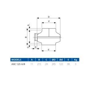 AXC 125B Aspiratore centrifugo in linea da condotto- Elicent 2AX1333