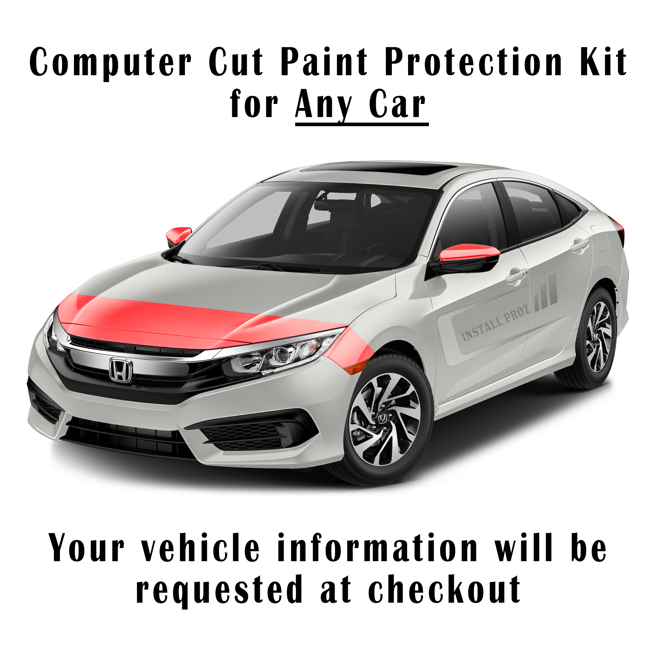 Self Healing Clear Paint Protection Film Kit Computer Cut For Any Car Hood Fenders Mirrors