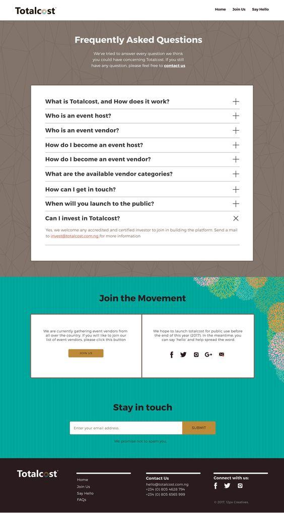 FAQ Page samples