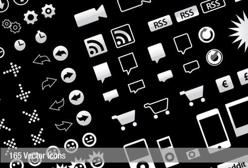 Free Vector Icons Pack, 165 Icons in 5 Colours Set