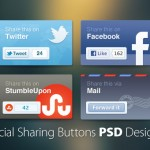 45+ Social Media Sharing Buttons PSD Designs