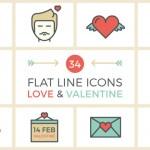 [Freebie] Flat Line Valentine Icon Set: 34 Icons, PNG, PSD, AI, EPS