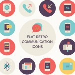 [Freebie] Flat Retro Communications Icon Set: 33 Icons, PNG, SVG, AI, EPS